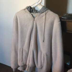 Faux fur cream colored zip up